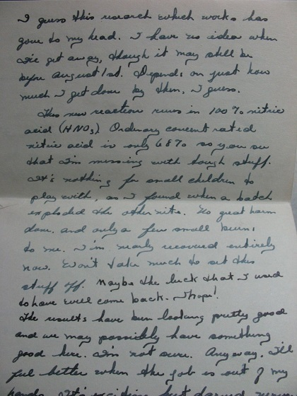 Image for 1942 - 1945 ORIGINAL GROUP OF EIGHT [8] MANUSCRIPT LETTERS HANDWRITTEN BY A PURDUE UNIVERSITY CHEMIST WORKING ON TOP SECRET PROJECTS LIKELY THE ATOMIC BOMB WHO SHARES MANY DETAILS WITH HIS GIRLFRIEND IN UNCENSORED LETTERS