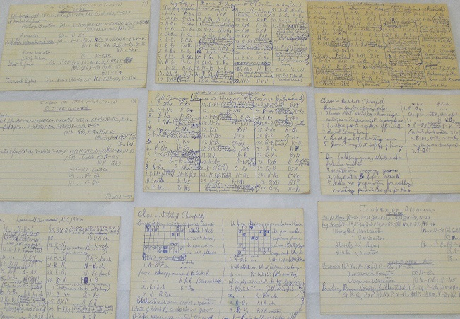Image for 1948 ORIGINAL MANUSCRIPT GROUP OF FILE CARDS DETAILING THE CRITICAL CHESS CHAMPIONSHIPS IN THE HAGUE TWO YEARS AFTER THE DEATH OF ALEXANDER ALEKHINE