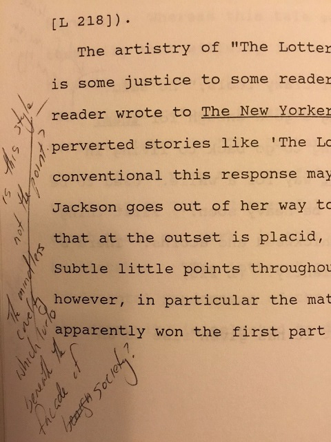 Image for c1990s ORIGINAL TYPED MANUSCRIPT BIOGRAPHY AND ANALYSIS OF HORROR AUTHOR SHIRLEY JACKSON BY CRITIC, NOVELIST AND EXPERT OF THE HORROR GENRE S.T. JOSHI