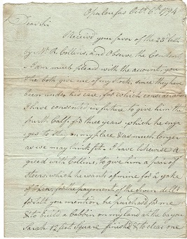 Image for 1794 ORIGINAL MANUSCRIPT LETTER DETAILING A LOUISIANA PLANTER'S CONCERNS FOR HIS TENANT'S PLANS AND AMBITIONS