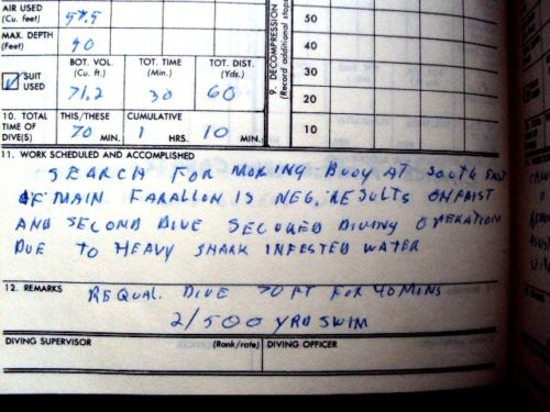 1965 ORIGINAL UNITED STATES NAVY DIVER'S LOG BOOK DETAILING HIS WORK IN SAN FRANCISCO BAY AND AREA WATERS WITH DUTIES RANGING FROM RECOVERING BUOYS TO BODIES AND MORE