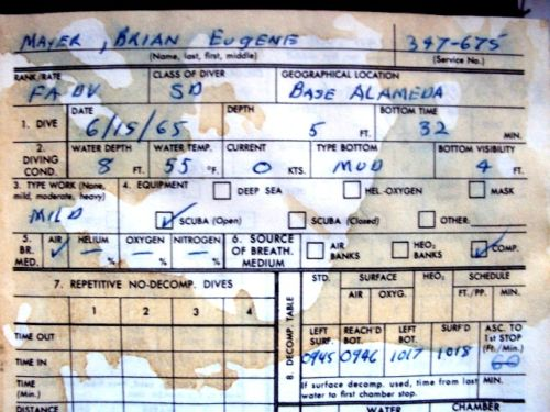 Image for 1965 ORIGINAL UNITED STATES NAVY DIVER'S LOG BOOK DETAILING HIS WORK IN SAN FRANCISCO BAY AND AREA WATERS WITH DUTIES RANGING FROM RECOVERING BUOYS TO BODIES AND MORE