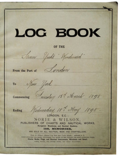 1898 ORIGINAL MANUSCRIPT SHIP'S LOG BOOK OF THE FAMED STEAM YACHT WINDWARD AS IT CROSSED FROM LONDON TO NEW YORK TO MEET IT'S FUTURE AND DESTINY WITH ROBERT EDWIN PEARY
