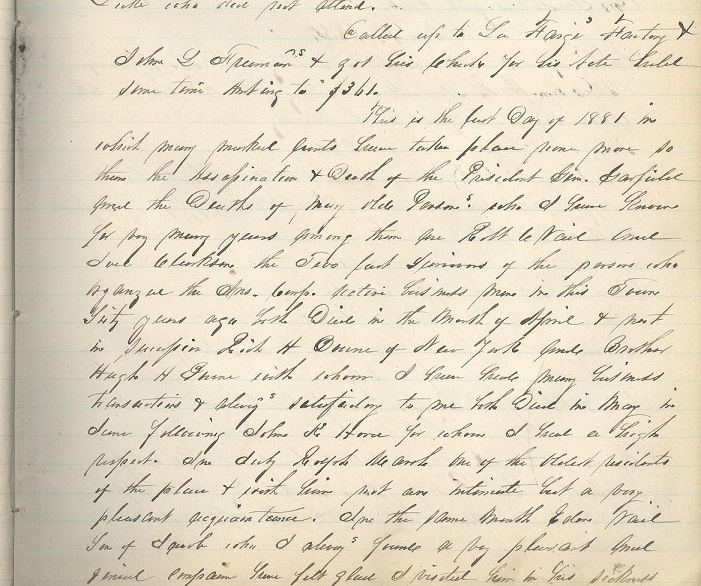 1881 - 1885 ORIGINAL MANUSCRIPT DIARY HANDWRITTEN BY THE SCION OF A LONG ESTABLISHED [1709] NEW JERSEY FAMILY WITH ROOTS TO THE MAYFLOWER