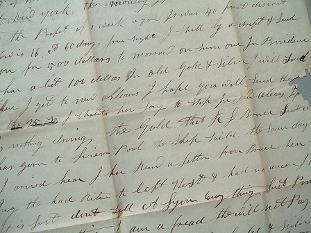 Image for 1843 ORIGINAL MANUSCRIPT LETTER HANDWRITTEN BY A GOLD AND SILVER DEALER FROM RHODE ISLAND TRYING TO MAKE SALES IN MOBILE TO NO AVAIL