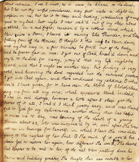 1763 - 1764 SUPERB, ORIGINAL MANUSCRIPT DIARY OF HER LIFE AND JOURNAL OF HER RELIGIOUS TURMOIL AND DESPAIR HANDWRITTEN BY THE SOON TO BE WIFE OF A NOTED ENGLISH CLERGYMAN