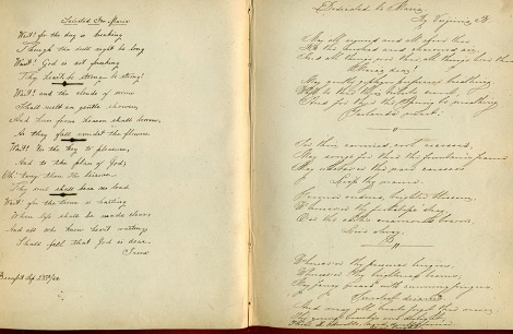 Image for 1851 - 1858 ORIGINAL, SOMBER MANUSCRIPT BOOK OF SENTIMENTS AND MEMORIES HANDWRITTEN BY FRIENDS AND FAMILY FROM BEAUFORT TO SAVANNAH TO OCALA