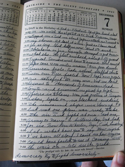 1941 - 1945 ORIGINAL GROUP OF MANUSCRIPT DIARIES [7] AND NOTEBOOK [1] DETAILING THE SERVICE, DUTIES AND SOMETIMES EXTREME OPINIONS OF AN OFFICER OF THE STORIED USS RANGER, AMERICA'S FIRST TRUE AIRCRAFT CARRIER