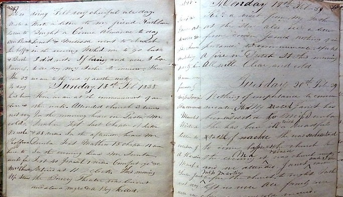 Image for 1838 ORIGINAL MANUSCRIPT DIARY HANDWRITTEN BY A YOUNG MAN ENJOYING LIFE, WORK AND SUNDAY SCHOOL IN GREENWICH VILLAGE NEW YORK