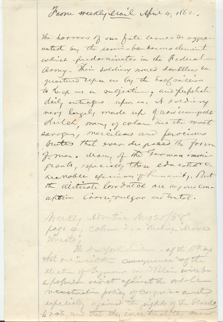 Image for 1869 ORIGINAL MANUSCRIPT NOTES AND OPINION ON THE EVILS OF RECONSTRUCTION FROM MONTGOMERY ALABAMA AND LIKELY HANDWRITTEN BY THE FUTURE GOVERNOR OF ALABAMA
