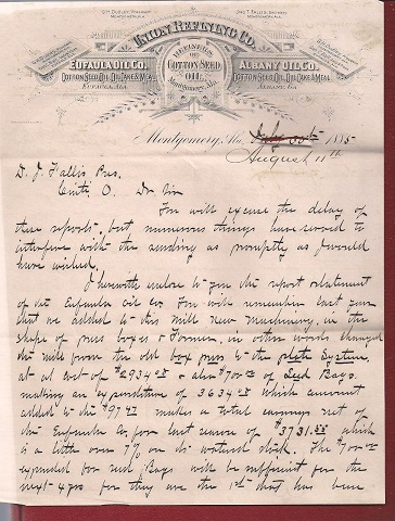 Image for 1885 ORIGINAL NINE PAGE AUTOGRAPHED LETTER HANDWRITTEN BY THE PRESIDENT OF THE UNION REFINING COMPANY IN MONTGOMERY ALABAMA TO HIS CORPORATE BANKERS IN CINCINNATI OHIO