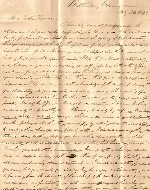 Image for 1841 ORIGINAL STAMPLESS MANUSCRIPT LETTER HANDWRITTEN BY HIS ELDER BROTHER FILLED WITH ADVICE, ADMONITIONS [AND WARNINGS AGAINST INTERCOURSE] TO A NEWLY MINTED MIDSHIPMAN ON THE SLOOP OF WAR CYANE