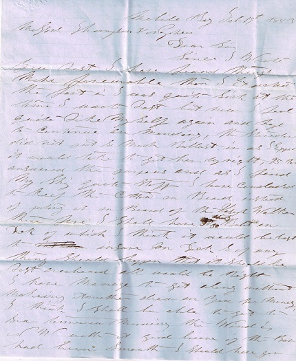 Image for 1853 ORIGINAL MANUSCRIPT LETTER AND HANDWRITTEN RELIC OF SEA FARING COMMERCE HANDWRITTEN BY A CAPTAIN VERY SOON TO BE NOTED IN DISPATCHES FOR HIS GALLANT SAVING OF PASSENGERS AND CREW IN THE 'SAN FRANCISCO' SHIPPING DISASTER