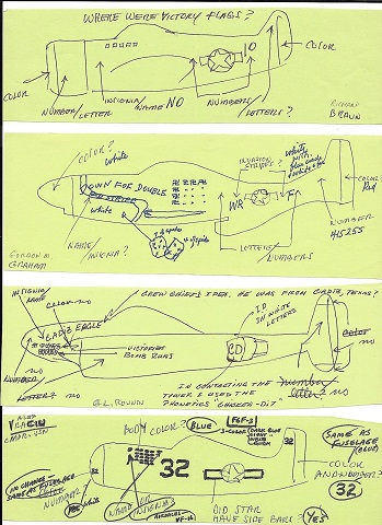 Image for 1980s ORIGINAL GROUP OF MANUSCRIPT NOTES AND HAND MADE DRAWINGS BY 29 WORLD WAR II AIR FORCE ACES FROM BOTH THE EUROPEAN THEATER AND THE PACIFIC