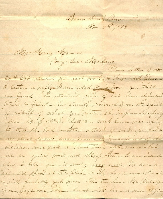 Image for 1878 ORIGINAL MANUSCRIPT LETTER HANDWRITTEN BY AN ALABAMA FRIEND OF THE MCLAUGHLIN FAMILY REPORTING ON THE STATE OF FAMILY INTERESTS NOW THAT ARCHIE HAS PASSED