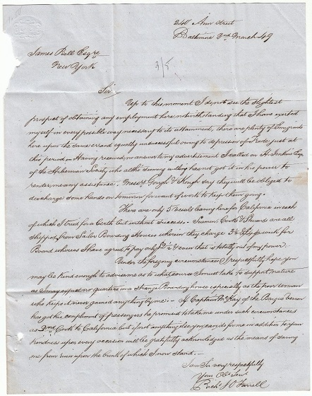 Image for 1849 ORIGINAL MANUSCRIPT LETTER HANDWRITTEN BY A NEAR DESPERATE IRISH IMMIGRANT BEGGING FOR ASSISTANCE FROM A FELLOW COUNTRYMAN