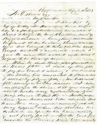 Image for 1863 ORIGINAL MANUSCRIPT CIVIL WAR LETTER SHOWING THAT WAR ALONE CANNOT STOP PROGRESS OR COMMON COURTESY AS THE MAN IN CHARGE OF BUILDING THE BALTIMORE COURTHOUSE PROVES