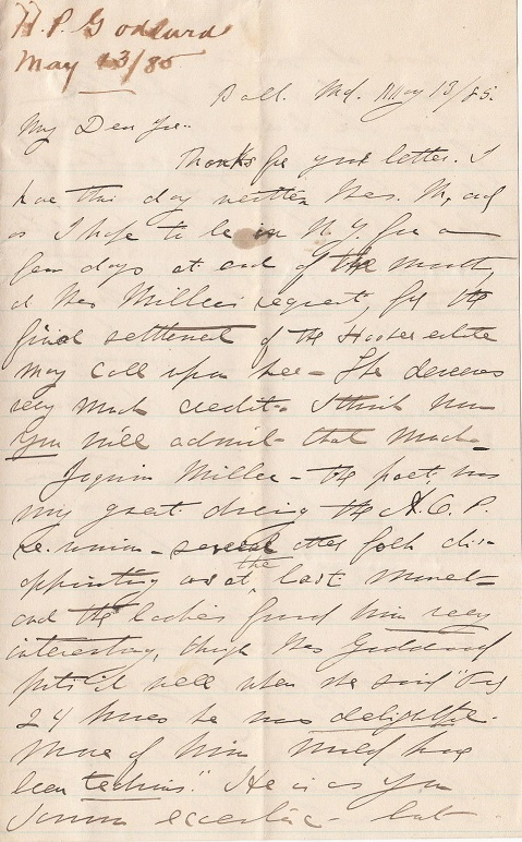 Image for 1885 ORIGINAL MANUSCRIPT LETTER HANDWRITTEN BY THE 1ST PRESIDENT OF THE SHAKESPEARE CLUB OF BALTIMORE ON ONE OF THE MORE ECCENTRIC VISITORS TO HIS HOME