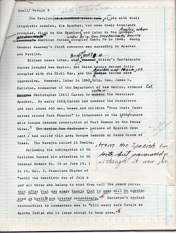 Image for 1972 ORIGINAL TYPED MANUSCRIPT: LONG WALK RECOLLECTIONS BY NAVAJOS BY NOTED HISTORIAN PLUS HIS EDITORS COPY