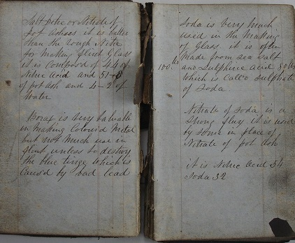 Image for 1850s ORIGINAL MANUSCRIPT BOOK OF GLASSMAKING RECIPES, PROCEDURES AND FORMULAES