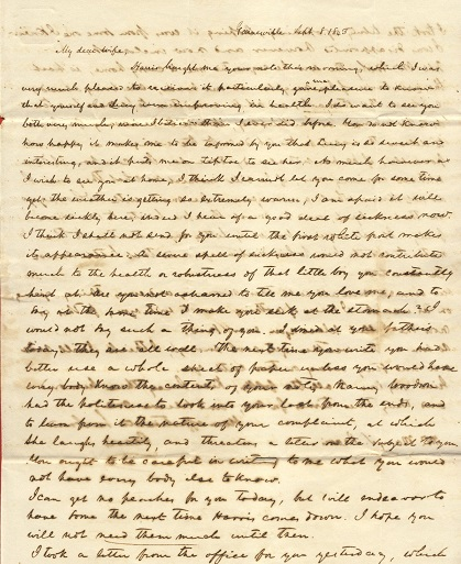 Image for 1843 ORIGINAL MANUSCRIPT LETTER HANDWRITTEN BY AN ALABAMA BASED HUSBAND IN NO RUSH AT ALL TO  REUNITE WITH HIS TERMAGANT WIFE IN MISSISSIPPI