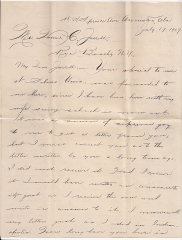 Image for 1907 ORIGINAL PAIR [2] OF MANUSCRIPT LETTERS HANDWRITTEN BY AN AFRICAN AMERICAN PROFESSOR OF MATHEMATICS AND MORAL AND MENTAL SCIENCE DETAILING HIS DEDICATED EFFORTS TO BRING MORE STUDENTS TO THE UNIVERSITY