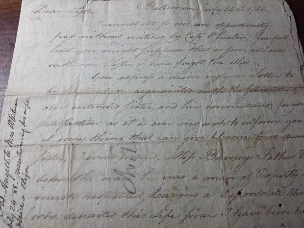 Image for 1788 ORIGINAL REVOLUTIONARY ERA BALTIMORE MARYLAND MANUSCRIPT LETTER AND INTERESTING PICTURE OF CONTEMPORARY SOCIAL MORES AND INCLINATIONS