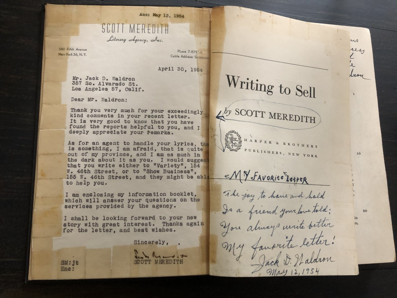 "Image for Scott Meredith, Pioneering Literary Agent's Biography, ""Writing to Sell"", Heavily Annotated by an Aspiring Writer, Plus Autographed Letter from Meredith"