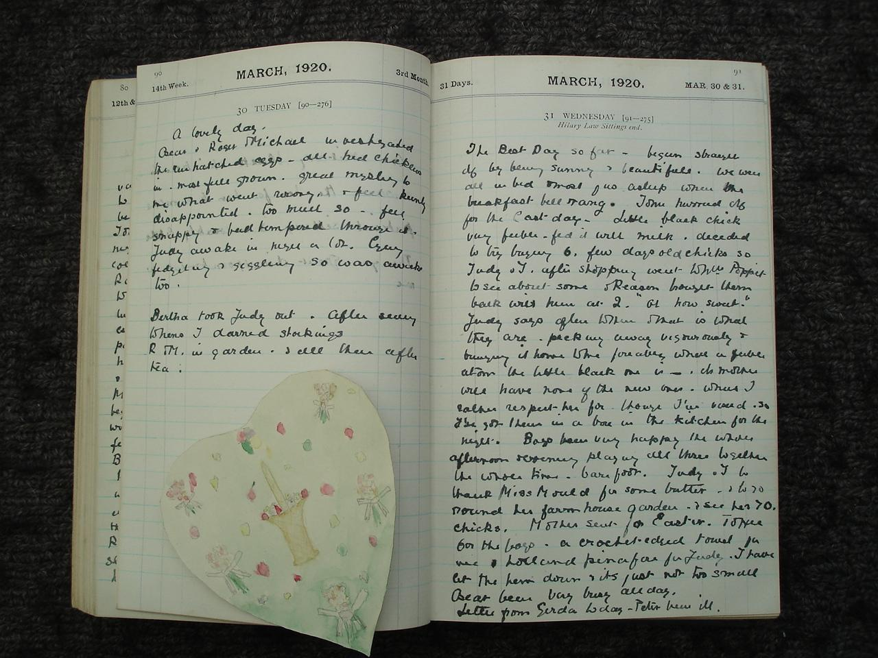 Image for 1920 ORIGINAL MANUSCRIPT DIARY OF NOTED ABSTRACT ARTIST ROGER HILTON'S MOTHER